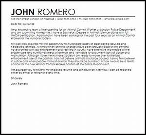 animal control worker cover letter sample livecareer With cover letter for working with animals