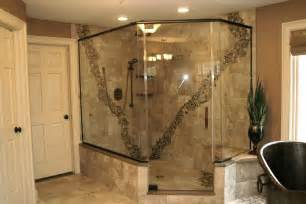 Luxury Walk In Showers by Rustic Walk In Shower With Pebble Accent Luxury