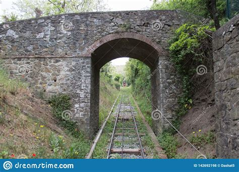 Red Funicular And Railroad, Montecatini, Tuscany, Italy ...