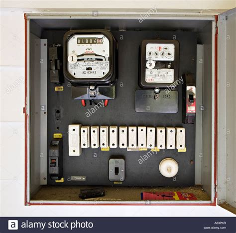 Electricity Fuse Box by Electricity Meter In Box With Style Fuses Circa 1962