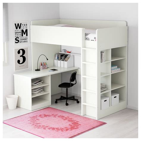 ikea loft bed with desk stuva loft bed combo w 2 shlvs 3 shlvs white 207x99x193 cm