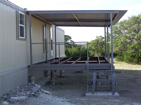 ranch house steel patio cover deck and stairs junction