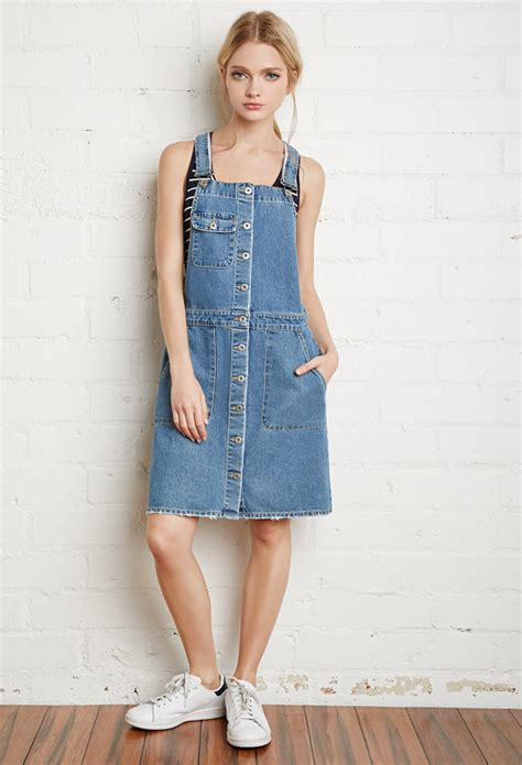 dress overoll soft 06 lyst forever 21 buttoned denim overall dress in blue