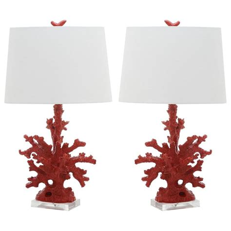red coral table l cal lighting elk 28 in brownish resin table l with