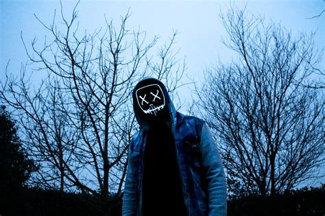 Man 4K Wallpaper, LED mask, Dope, Evening, Anonymous ...