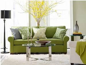 canape vert dans le salon contemporain et idees deco assortie With tapis shaggy avec canape bas convertible