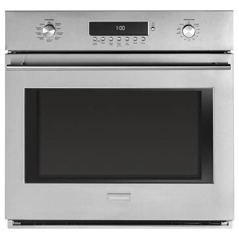 monogram   smart single electric wall oven  cleaning  convection  stainless steel