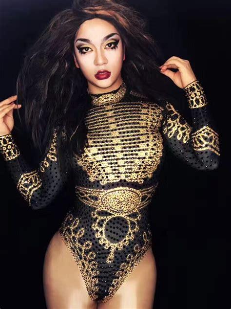 sexy beyonce bodysuit black gold long sleeve leotard