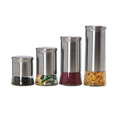 Kitchen Canister Sets Stainless Steel by Home Basics Essence Stainless Steel Canister Set 4