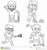 Sport Coloring Sports Cricket Colouring Playing Curling Lacrosse Pages Sketch Child Illustration Bra Ball Vector Illustrations Dreamstime Template sketch template