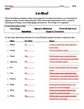 Is It Alive, Characteristics Of Life Worksheet By Patton Pedagogy Products