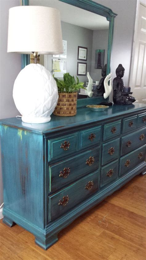 hand painted teal dresser patina green blue turquoise
