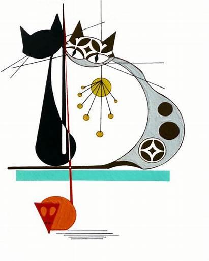 Modern Cat Atomic Mid Century Retro Cats