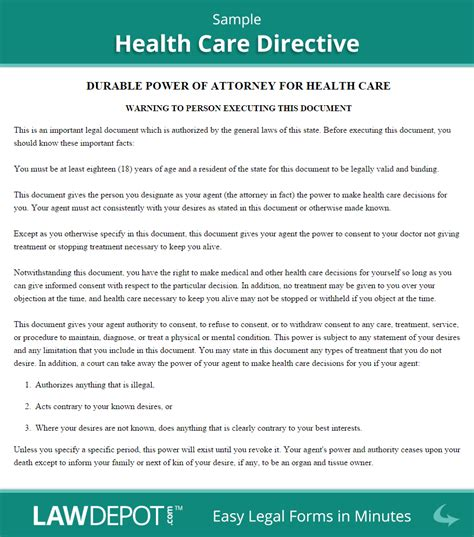 living  form  healthcare directive  lawdepot