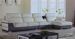 Hover ivory gray leather modern sectional sofa set for Sectional sofa set up