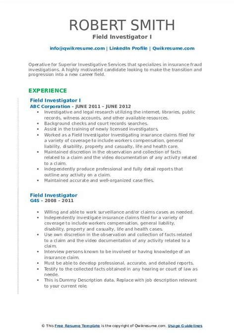 Criminal justice resume sample law resumecompanion com. Field Investigator Resume Samples | QwikResume