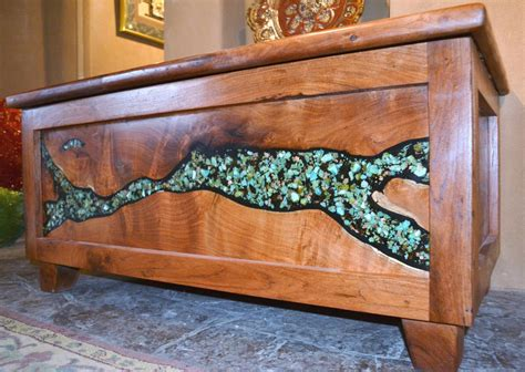 mesquite l with turquoise inlay one of a kind mesquite furniture turquoise butterfly