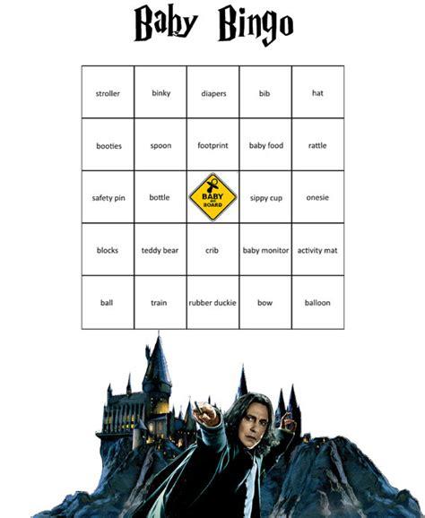 Baby Shower Bingo Word List by Baby Shower Harry Potter Themed Bingo Game
