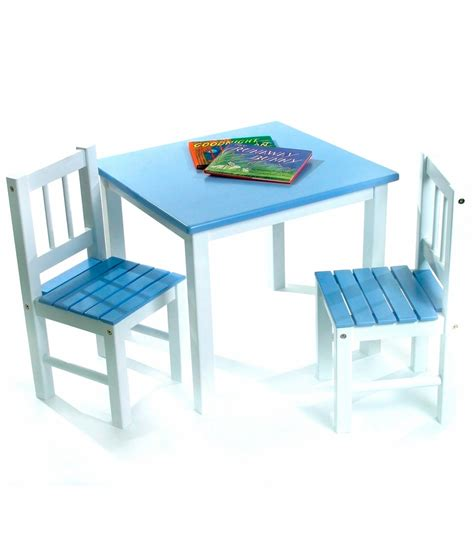 lipper international table chair set in blue and
