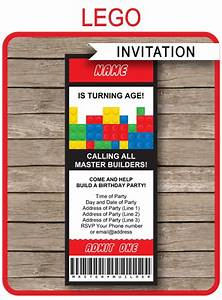 Dinosaur Birthday Party Invitations Lego Ticket Invitations Birthday Party Template