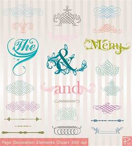 vintage wedding decoration elements clipart set with With buy digital wedding invitations