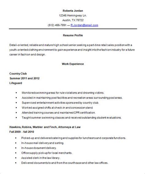 Resume Sles High School by High School Resume Template