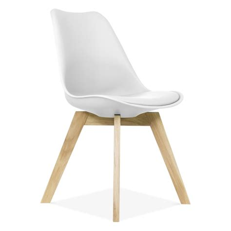 eames inspired white dining chairs with crossed wood leg
