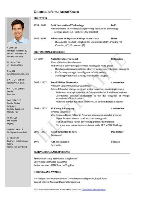 Cv Format Template by Free Curriculum Vitae Template Word Cv Template