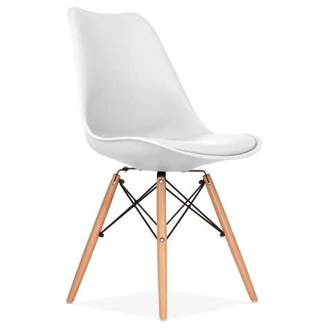 chaise de sejour white pad dining chair with dsw style wood legs cult uk