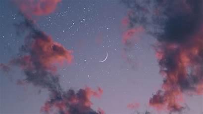 Moon Clouds Sky Desktop Aesthetic Stars Pink