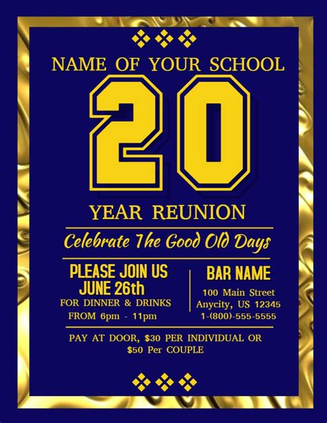 school reunion poster template golden school reunion