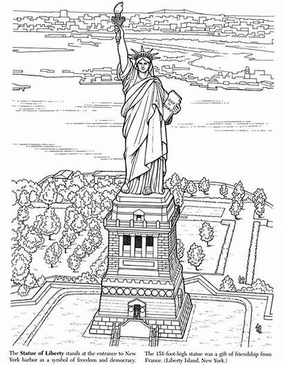 Coloring Liberty Statue Pages Landmarks York Historic