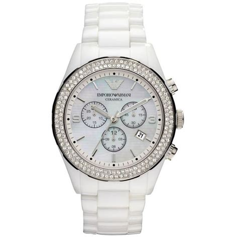 emporio armani ar1456 ladies white crystal ceramica watch