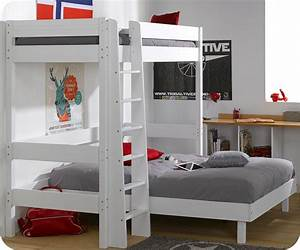 Lit Mezzanine Enfant : lit mezzanine enfant clay blanc achat vente mobilier bois massif ~ Teatrodelosmanantiales.com Idées de Décoration