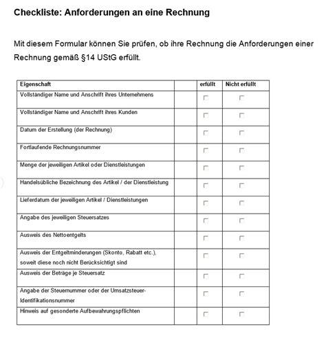 checkliste rechnungen