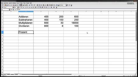 einfache berechnungen fuer anfaenger open office calc oder