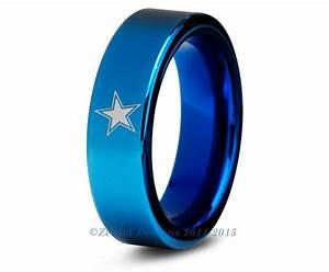 dallas cowboys ring blue tungsten wedding band by With dallas wedding rings