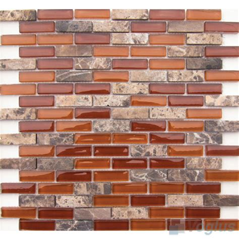 rust subway 15x48mm glass mosaic tiles vb gsc91