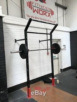 commercial wall mounted squat rack pull  bar crossfit weightlifting