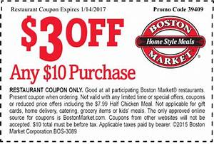 Boston Market Coupon: $3 Off Any $10 Purchase! - 1/2/2017