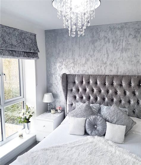grey silver white crushed velvet bedroom modern decor