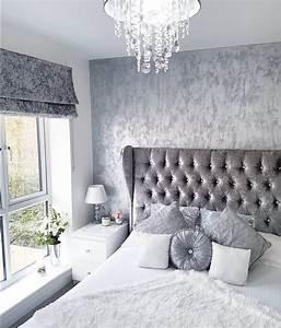 Grey, Silver, White, Crushed, Velvet, Bedroom, Modern, Decor, Inspo, From, Insta