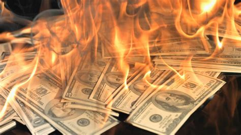 money  fire slow motion youtube