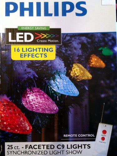 philips 25ct led faceted c9 string lights with remote