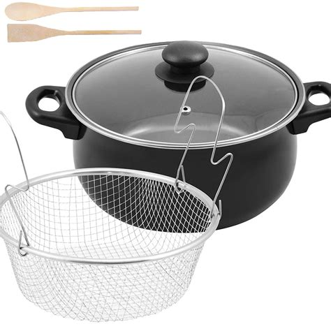 pan frying deep chip basket pot chips fryer lid fat non stick pans carbon steel fry glass grill 24cm hq