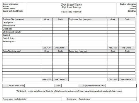homeschool high school transcript template free forms for schools california desert homeschoolers