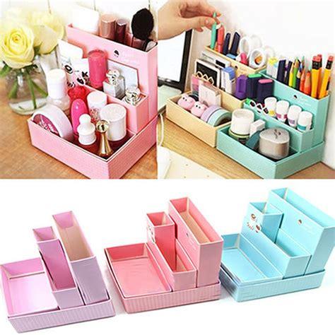 makeup storage desk home diy makeup organizer office paper board storage box