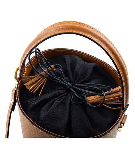 saffiano leather bucket bag camelia roma