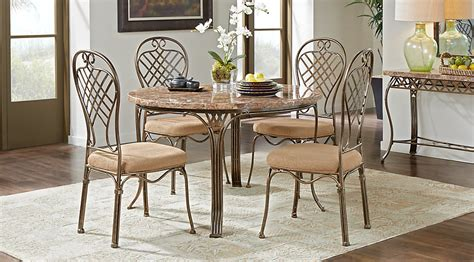 alegra metal 5 pc round dining with stone top dining room sets metal