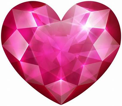 Heart Clip Pink Crystal Clipart Hearts Transparent